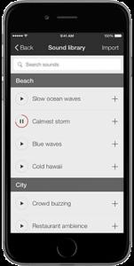Oberfläche der App fürs Smartphone, wo Geräusche wie Ozeanwellen mit dem Hörgerät angehört werden können.