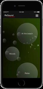 Oberfläche der App ReSound fürs Smartphone, wo Geräusche wie Ozeanwellen mit dem Hörgerät angehört werden können.